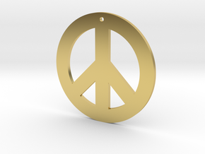peace symbol standard size in Polished Brass