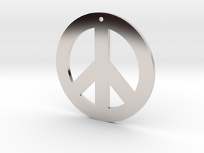 peace symbol standard size in Rhodium Plated Brass