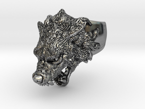 Hungry Wolf Ring in Antique Silver: 6 / 51.5