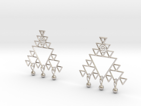 Fractal Earrings in Rhodium Plated Brass