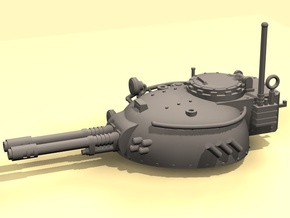 28mm Rauber tank turret -  twin auto cannon in White Processed Versatile Plastic