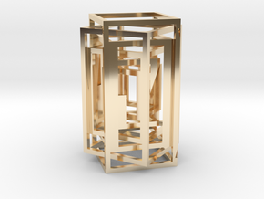 Square lamp in 14K Yellow Gold