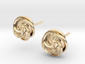 Pinwheel Flower Stud Earrings in 14K Yellow Gold
