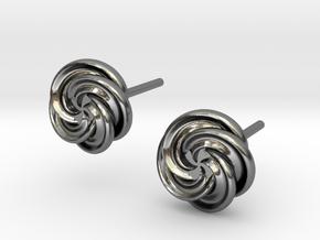 Pinwheel Flower Stud Earrings in Polished Silver