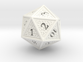 Hedron D20 SPINDOWN (Solid), balanced die in White Processed Versatile Plastic