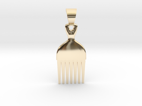 Afro comb [pendant] in 14k Gold Plated Brass
