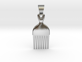 Afro comb [pendant] in Polished Silver