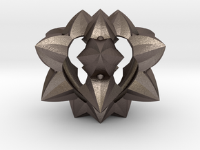 Spiked Heart in Polished Bronzed-Silver Steel