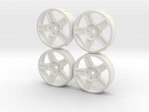 5Spoke Rotiform inspired MST changeable insert set in White Natural Versatile Plastic