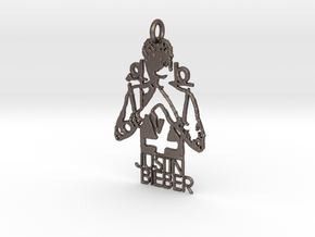 Justin Bieber Pendant - Exclusive Jewellery in Polished Bronzed Silver Steel
