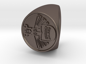 Custom signet ring 82 in Polished Bronzed-Silver Steel