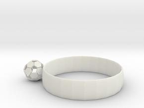 Ring of Soccer in White Natural Versatile Plastic: Medium
