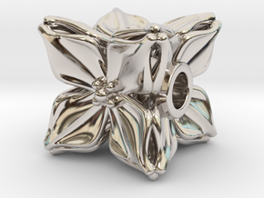 Floral Bead/Charm - Cube in Rhodium Plated Brass