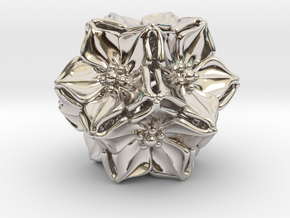 Floral Bead/Charm - Dodecahedron in Rhodium Plated Brass