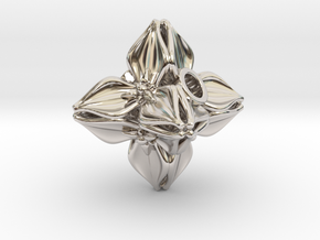 Floral Bead/Charm - Octahedron in Rhodium Plated Brass