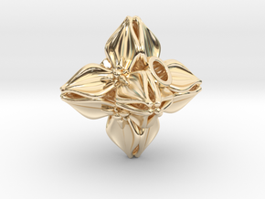 Floral Bead/Charm - Octahedron in 14k Gold Plated Brass