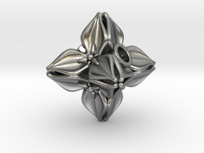 Floral Bead/Charm - Octahedron in Natural Silver