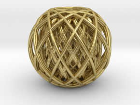 Rotating toruses between two wire frame spheres in Natural Brass