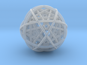 Hedron star inside sphere blue black in Smooth Fine Detail Plastic