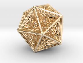 Icosahedron collapsing axis in 14K Yellow Gold