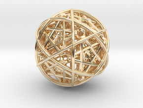 Hedron star inside sphere yellow black in 14k Gold Plated Brass