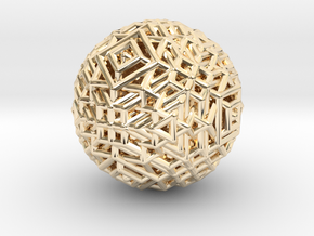 Cube to octahedron transition Version 1 in 14k Gold Plated Brass