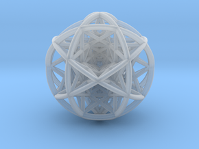 Scaled arrayed star hedron inside sphere in Smooth Fine Detail Plastic