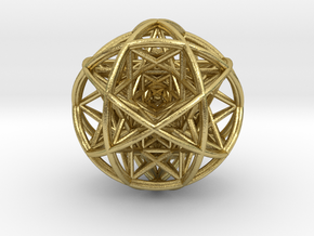 Scaled arrayed star hedron inside sphere in Natural Brass