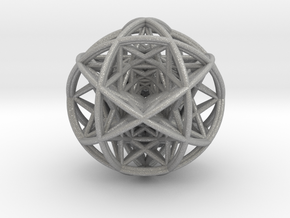 Scaled arrayed star hedron inside sphere in Aluminum