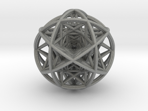 Scaled arrayed star hedron inside sphere  in Gray Professional Plastic