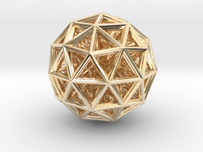 Geometric sphere with connected vertics in 14K Yellow Gold