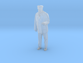 Standing motorman or operator figure with left arm in Smooth Fine Detail Plastic: 1:87 - HO