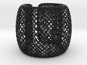 Fish Net Bangle in Black Premium Versatile Plastic: Medium