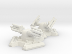 Missile Turret X2 (6mm Scale) in White Natural Versatile Plastic