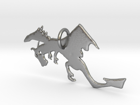 Crazy Dragon Pendant in Natural Silver
