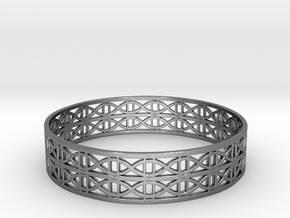 Tangentoidal Crown Curve Bracelet (001a) in Fine Detail Polished Silver