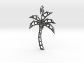 Wireframe palm tree pendant in Natural Silver