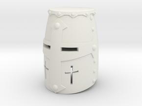 Crusader Helm (Full) in White Natural Versatile Plastic: Small