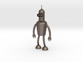 Futurama Bender Figure in Polished Bronzed-Silver Steel: Small