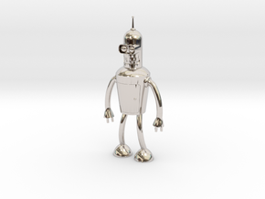 Futurama Bender Figure in Rhodium Plated Brass: Small