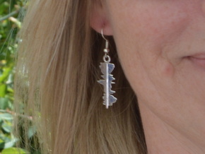 "Custom Earring made from 2 ""I Love You"" Waveforms in Rhodium Plated Brass"