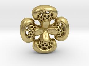 Sphericon Flower pendant in Natural Brass