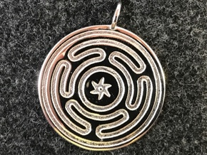 Wheel of Hecate pendant in Rhodium Plated Brass