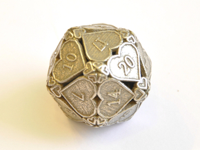 D20 Balanced - Hearts in Polished Bronzed Silver Steel