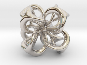 Flower in 4 Dimensions in Rhodium Plated Brass