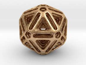 Nested Icosahedron for pendant in Natural Bronze