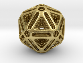 Nested Icosahedron for pendant in Natural Brass