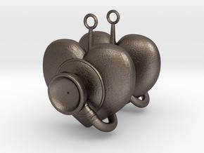 Stethoscope Earrings in Polished Bronzed-Silver Steel