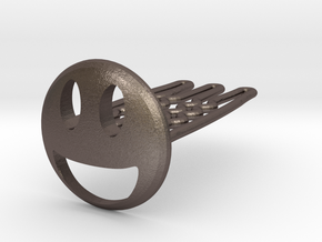 Smile for beard - front wearing in Polished Bronzed-Silver Steel