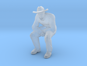 Man Sitting; Large Hat in Smoothest Fine Detail Plastic: 1:64 - S